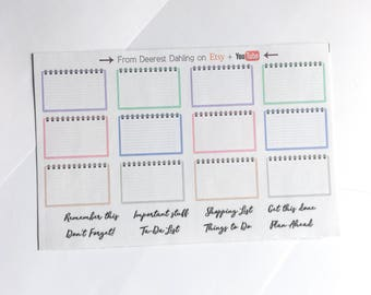 32 Notebook handlettered multicolor box stickers for Functional White Space Planning - Personal Planner