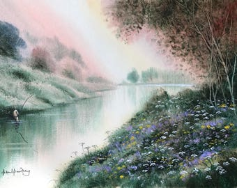 River fishing, fishing, rivers, river paintings, river landscape, countryside, reflections, summer flowers, waterscape, landscape watercolor