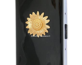 Sunflower Embellished Metal Cigarette Case Inlaid in Hand Painted Enamel Neo Victorian Floral Metal Wallet  and Personalized Options