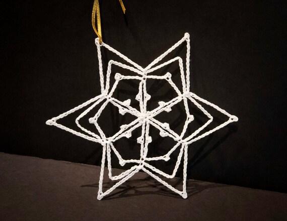 Vintage Handmade Crocheted White Christmas Ornament #9