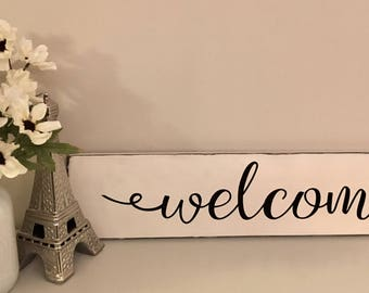 """Free Shipping! Rustic Distressed Wooden Welcome Sign on reclaimed lumber 24"""" X 5.5"""" .."""