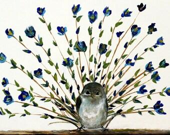 Peacock Little Bird made of flowers - Cute Wall Art