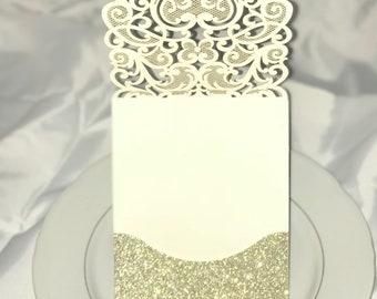 Exquisite laser cut wedding invitation pocket