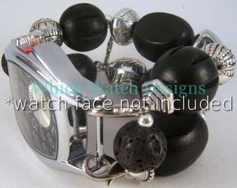 Black Jumble.. Chunky Wood and Lava Bead Interchangeable Beaded Watch Band, Black and Silver