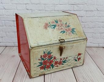 Vintage Rustic Bread Box Pie Safe Flowers