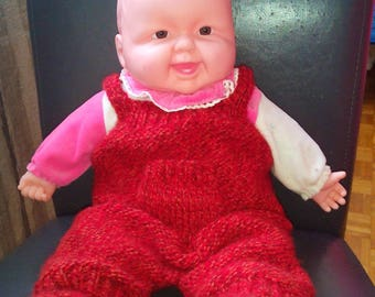 Overalls red Heather knit by hand