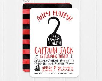 Pirate Invitation / Pirate Party Invitation / Pirate Birthday Invitation Pirate Hook / Watercolor Pirate Birthday Invitation