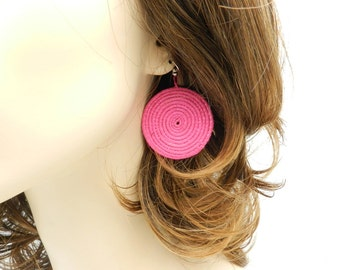 Round Pink Handwoven Earrings Made in Rwanda