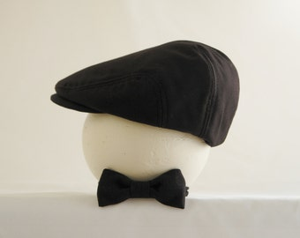 Baby boy photo prop, Newsboy hat and bow tie set, black newsboy hat, black bow tie - made to order