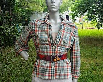 Womens Jacket, 70s Jacket, Serbin, Plaid Jacket, Vintage Jacket, 70s Costume, Serbin of Florida, Plaid, Marguerite Flood ,Jacket Size 12