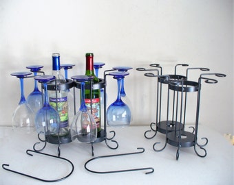 2-Bottle 8 Glass Tabletop Wine Holder with handles