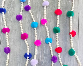Childrens pom pom necklace
