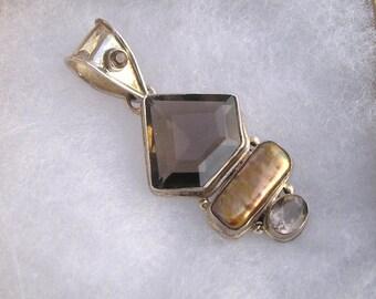 "Gorgeous Sterling Topaz Gemstone Biwa Pearl Pendant 925 2 1/2"" Length"