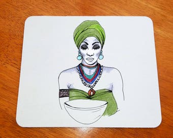 African Mousepad, African Mouse Pad, African Mousemat, African Mousemat, African Design, African Woman, Beautiful Woman, South Africa