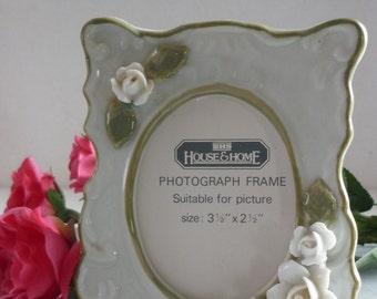 British Home Stores (BHS) Olive Green Vintage Floral Ceramic Photo Frame