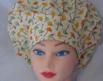 Bouffant Style Scrub Hat - Spring Umbrellas