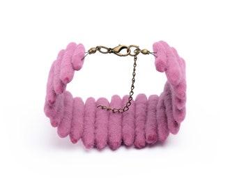 Ladder bracelet with cuff design made of felted beads - wide cuff, ethnic bracelet, ladder cuff, unique bracelet, natural ethnic cuff [BT9]