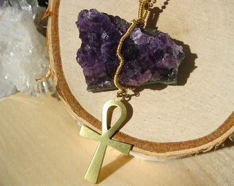 Give Thankhs Amethyst Necklace | Wire Wrapped Amethyst | Egyptian Jewelry | Afrocentric Jewelry | Ankh Necklaces