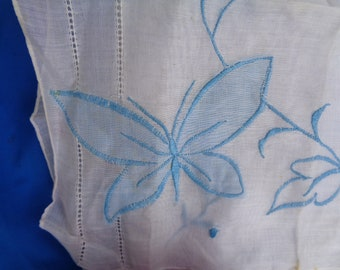 Vintage Embroidered Blue Butterfly handkerchief with flowers