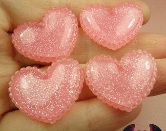 5 pcs Sparkly PINK GLITTER Scalloped Hearts Resin Decoden Flatback Kawaii Cabochons