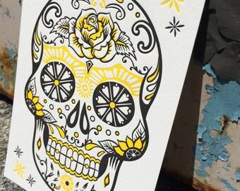 Letterpress ART PRINT - Day of the Dead Skull / Tattoo / Halloween / Sugar Skull / Holiday / Gift (Yellow)