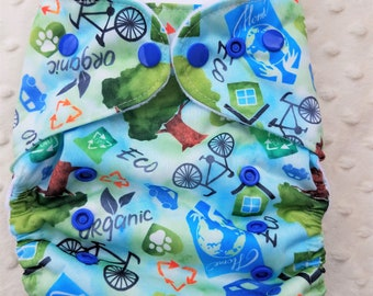 One Size, cloth diaper cover, fleece lined PUL with AI2 option, earth day, love the earth, eco