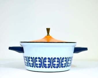 Mid Century Modern Cathrineholm Blue and White Casserole with Mismatched Orange Ceramic Lid with Brass Handle Knob