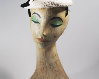 1940s hat   40s hat   white vintage hat   bridal hat   ivory hat   1940s vintage hat   40s vintage