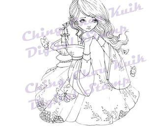 In mijn ogen - Instant Download digitale stempel / Japanse Kimono vlinder kleurplaat Line Art Fairy meisje door Ching-Chou Kuik