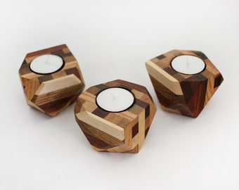 Geometric Wood Tea Light Holders, Set of 3, candle holder, home and living, unique design, hygge, decor, living room, bathroom and bedroom