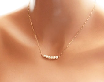Dainty Pearl Necklace, Tiny and Petite Row of Pearls, Sterling Silver, Gold Fill, Rose Gold Necklace, Bridesmaids Necklace, Wedding Jewelry