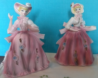 Two Pink Vintage Southern Bell Figurines, collectible, numbered, gift idea, Figurines and Knick Knacks