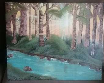 16 x 20 Original Canvas Oil Painting Sunlight through the trees forest with stream creek sunset sunrise