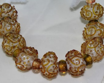 Lampwork Glass Gold Swirl Rondelle Beads