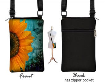 Iphone 8  Case. iPhone 8 Plus Case Crossbody Cell Phone Purse Smartphone Case Cross Body Bag, Sunflower Floral, blue, yellow, black RTS