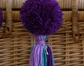 Lavender, Purple and Turquoise Pom Pom & Tassel Clip-on with Key Charm -  Keychain, Beach Bag or Backpack Flair Clip