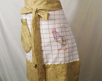 Woman's Tan Stripe Towel Apron with Embroidery, Half Apron, Kitchen  Serving Apron,  handmade Apron, Made in the USA, Gift for Mom, #20A