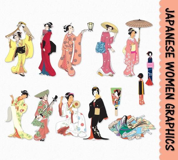 japanese women clip art graphics traditional japan clipart scrapbook rh etsystudio com Book Clip Art Family Clip Art Scrapbook