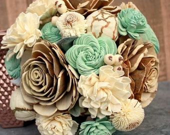 Sola flower bouquet, brides wedding bouquet, coral and mint, aqua, mint green wedding flowers, wood flower bouquet, alternative eco flowers