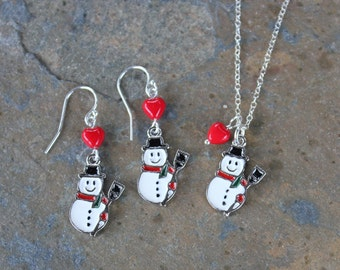 White Snowman and red heart necklace & earring set - enameled charms on sterling silver - Winter, Christmas -Free Shipping USA