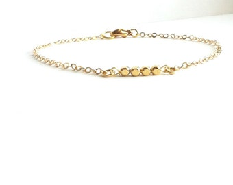 Thin Gold Bracelet with Gold Plated Square Beads, Simple Gold Bracelet, Everyday Bracelet, Thin Gold Bracelet, Dainty Gold Bracelet