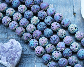 titanium lava, 8mm beads, round beads, glossy beads, metallic titanium, gemstone beads, sold as 1 strand, approx.48 beads,