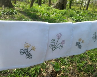 Hand embroidered Violets and Buttercups Wildflowers Cloth Napkins
