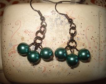Turquoise Green Pearl Glass Dangle Earrings