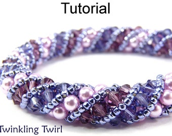 Russian Spiral Stitch Beading Patterns - Jewelry Making Tutorials - Crystals - Pearls - Simple Bead Patterns - Twinkling Twirl #476