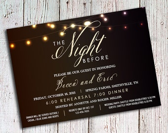 Rehearsal Dinner Invitations - Rustic Party Invitations - Wedding Rehearsal Invitations, Romantic Invitations, Script Invitations