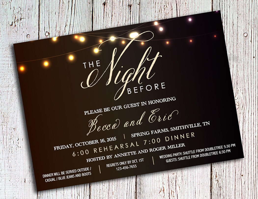 Pre Wedding Dinner Invitation: Rehearsal Dinner Invitations Rustic Party Invitations