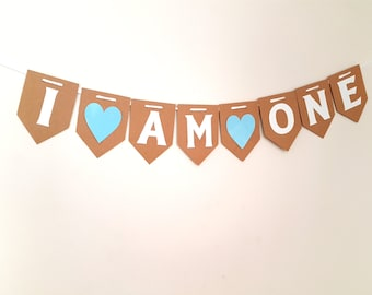 I AM ONE Bunting 1st First Birthday Party BOY Blue Baby Shower Hanging Garland Banner Gift Cake Smash Children's birthday boys vintage