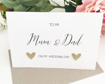 Mum and Dad Thank You Wedding Greeting Card To My Parents Mother of The Bride Groom Father of the Bride Groom Personalised Wedding Gift