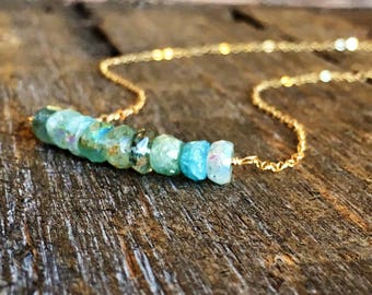 Gold Filled and Aqua Stone Minimalist Necklace / Delicate Stone Necklace/ Simple Jewlery